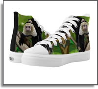 Life Is A Jungle  Monkey High Top Sneakers ZIPZ® Designed by an artist who loves off the grid in the rain forest. Island Art Bocas for Yotigo