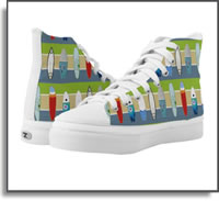 Surfing USA High Top Sneakers ZIPZ. Designed by Island Art Bocas for Yotigo. I am an artist that lives off the grid in the rainforest.  Visit my websites to view my products and art